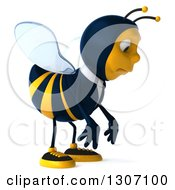 Clipart Of A 3d Sad Business Bee Facing Right And Pouting Royalty Free Illustration