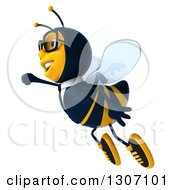 Clipart Of A 3d Happy Business Bee Flying To The Left Royalty Free Illustration