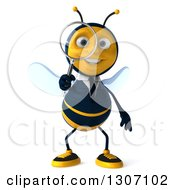 Clipart Of A 3d Happy Business Bee Looking Through A Magnifying Glass Royalty Free Illustration