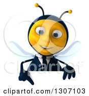 Clipart Of A 3d Happy Business Bee Pointing Down Over A Sign Royalty Free Illustration