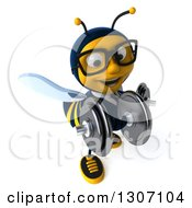 Clipart Of A 3d Happy Bespectacled Business Bee Working Out And Doing Bicep Curls With Dumbbells Royalty Free Illustration