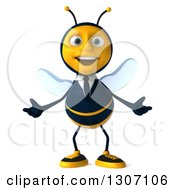 Clipart Of A 3d Happy Business Bee Welcoming Royalty Free Illustration