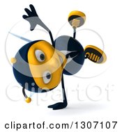 Clipart Of A 3d Happy Business Bee Facing Right And Cartwheeling Royalty Free Illustration