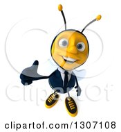 Clipart Of A 3d Happy Business Bee Holding Up A Thumb Royalty Free Illustration