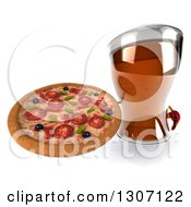 Clipart Of A 3d Beer Mug Character Holding Up A Pizza Royalty Free Illustration