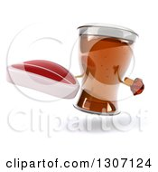 Clipart Of A 3d Beer Mug Character Holding And Pointing To A Beef Steak Royalty Free Illustration