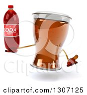 Clipart Of A 3d Beer Mug Character Shrugging And Holding A Soda Bottle Royalty Free Illustration