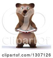 Clipart Of A 3d Happy Brown Bear Reading A Book Royalty Free Illustration by Julos