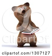Clipart Of A 3d Happy Brown Bear Holding And Pointing To An Open Book Royalty Free Illustration