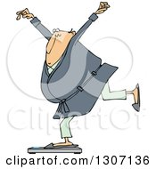 Cartoon Chubby White Man In A Robe And Pjs Balancing On A Scale