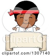 Clipart Of A Cartoon Happy Black Karate Boy Smiling Over A Blank Banner Sign Royalty Free Vector Illustration