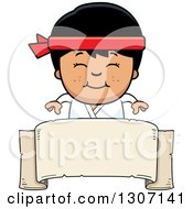 Cartoon Happy Asian Karate Boy Smiling Over A Blank Banner Sign