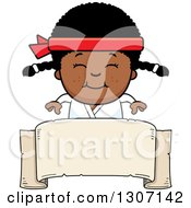Clipart Of A Cartoon Happy Black Karate Girl Smiling Over A Blank Banner Sign Royalty Free Vector Illustration