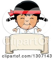 Clipart Of A Cartoon Happy Asian Karate Girl Smiling Over A Blank Banner Sign Royalty Free Vector Illustration