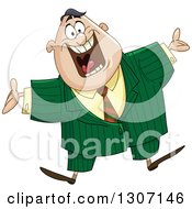 Clipart Of A Welcoming Excited Chubby Businessman Jumping Royalty Free Vector Illustration