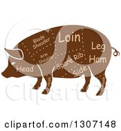 Clipart Of A Brown Silhouetted Pig With Labeled Pork Cuts Royalty Free Vector Illustration