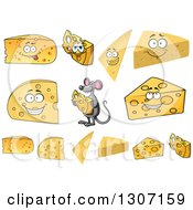 Clipart Of A Cartoon Happy Mouse And Cheese Wedges Royalty Free Vector Illustration