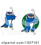 Clipart Of Cartoon Blue Owl Golfers Swinging Clubs Royalty Free Vector Illustration