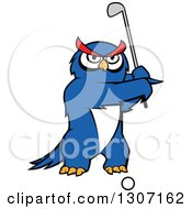Clipart Of A Cartoon Blue Owl Golfer Swinging A Club Royalty Free Vector Illustration by Seamartini Graphics