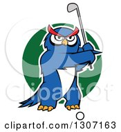 Clipart Of A Cartoon White Outlined Blue Owl Golfer Swinging A Club Over A Green Circle Royalty Free Vector Illustration