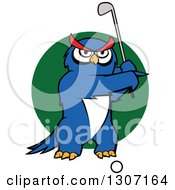 Clipart Of A Cartoon Blue Owl Golfer Swinging A Club Over A Green Circle Royalty Free Vector Illustration