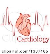 Clipart Of A Human Heart Over An Electrocardiogram Graph And Text Royalty Free Vector Illustration
