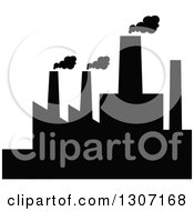 Clipart Of A Black Silhouetted Refinery Factory 18 Royalty Free Vector Illustration