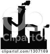 Clipart Of A Black Silhouetted Refinery Factory 2 Royalty Free Vector Illustration