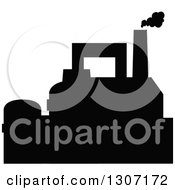 Clipart Of A Black Silhouetted Refinery Factory 5 Royalty Free Vector Illustration