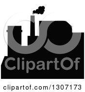 Clipart Of A Black Silhouetted Refinery Factory 6 Royalty Free Vector Illustration