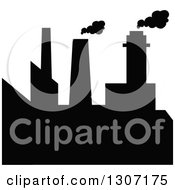 Clipart Of A Black Silhouetted Refinery Factory 8 Royalty Free Vector Illustration