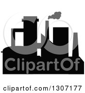 Clipart Of A Black Silhouetted Refinery Factory 16 Royalty Free Vector Illustration