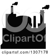 Clipart Of A Black Silhouetted Refinery Factory 10 Royalty Free Vector Illustration