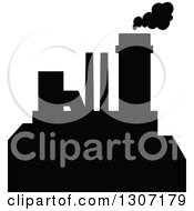 Clipart Of A Black Silhouetted Refinery Factory 11 Royalty Free Vector Illustration