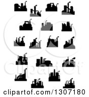 Clipart Of Black Silhouetted Refinery Factories Royalty Free Vector Illustration