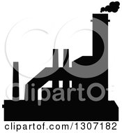 Clipart Of A Black Silhouetted Refinery Factory 15 Royalty Free Vector Illustration