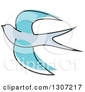 Clipart Of A Sketched Flying Blue Swallow Bird Royalty Free Vector Illustration