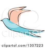 Clipart Of A Sketched Flying Beige And Blue Swallow Bird Royalty Free Vector Illustration