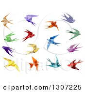Clipart Of Colorful Flying Origami Swallow Birds Royalty Free Vector Illustration by Vector Tradition SM