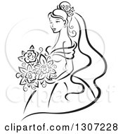 Clipart Of A Sketched Black And White Bride Holding A Bouquet 7 Royalty Free Vector Illustration