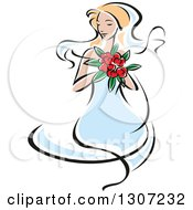 Clipart Of A Sketched Blond Caucasian Bride In A Blue Dress Holding A Bouquet Of Red Flowers Royalty Free Vector Illustration