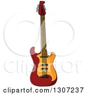 Clipart Of A Cartoon Electric Guitar Royalty Free Vector Illustration by Vector Tradition SM