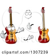 Clipart Of A Cartoon Face Hands And Electric Guitars Royalty Free Vector Illustration