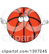 Clipart Of A Cartoon Happy Basketball Character Looking Up And Pointing Royalty Free Vector Illustration