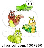 Clipart Of Cartoon Smiling Caterpillars Royalty Free Vector Illustration