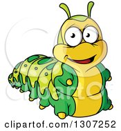 Clipart Of A Cartoon Smiling Green And Yellow Caterpillar Royalty Free Vector Illustration by Vector Tradition SM