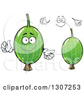 Clipart Of A Cartoon Happy Face Hands And Gooseberries Royalty Free Vector Illustration