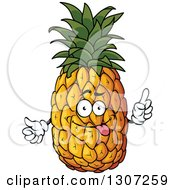 Clipart Of A Goofy Pineapple Character Sticking Its Tongue Out And Holding Up A Finger Royalty Free Vector Illustration