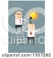 Clipart Of A Flat Design White Businessman Wiring An Idea Into An Employees Brain On Blue Royalty Free Vector Illustration