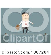 Clipart Of A Flat Design White Businessman Walking A Tightrope On Blue Royalty Free Vector Illustration